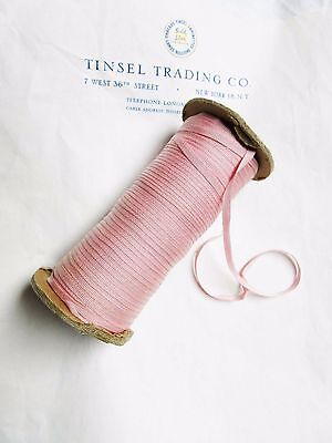 """10 Yards Vintage Tiny Rayon Pink Grosgrain Ribbon Antique Doll 1/8"""" Lampshade"""