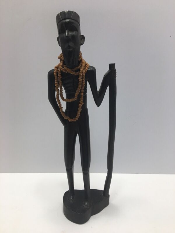 Hand Carved Tribal African Male Warrior - Wood Statue Figurine Vintage