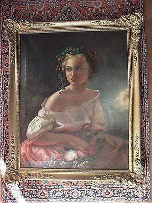 Herrliches Ölbild - Portrait eines Mädchens - aus der 2. Hälfte des 19.Jh.