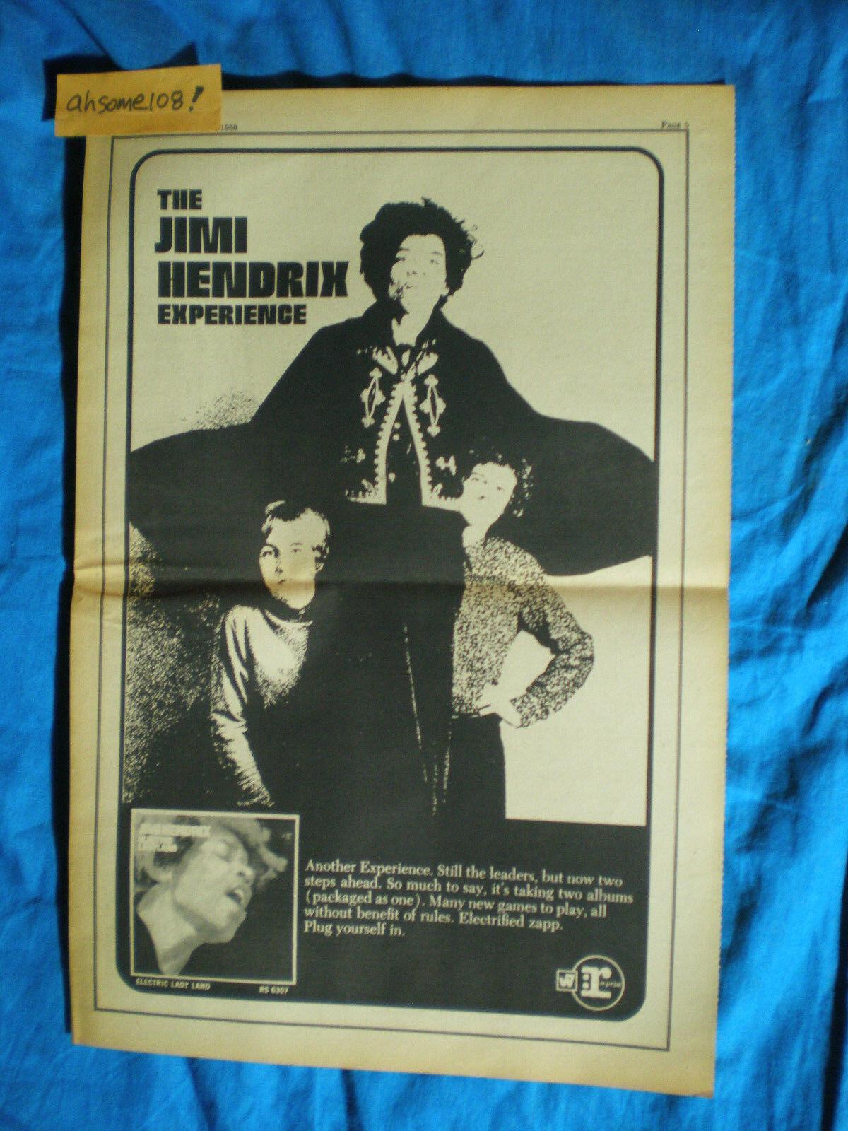 JIMI HENDRIX EXPERIENCE RARE Lg. 11X17 1968 Electric Lady LP Promo Ad POSTER - $79.69