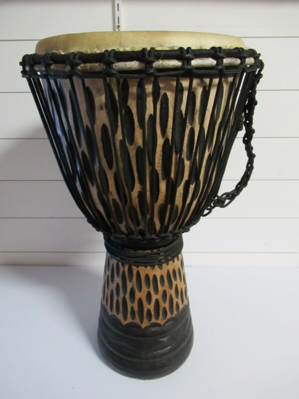 "Djembe Drum 24"" Tall 12"" goat skin, Deep carved Cheetah design with cover"
