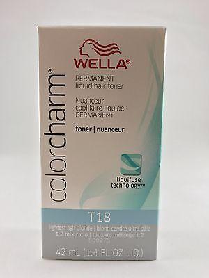 100%Authentic Wella Color Charm Liquid Hair Toner1.42 oz-T18 Lightest Ash Blonde