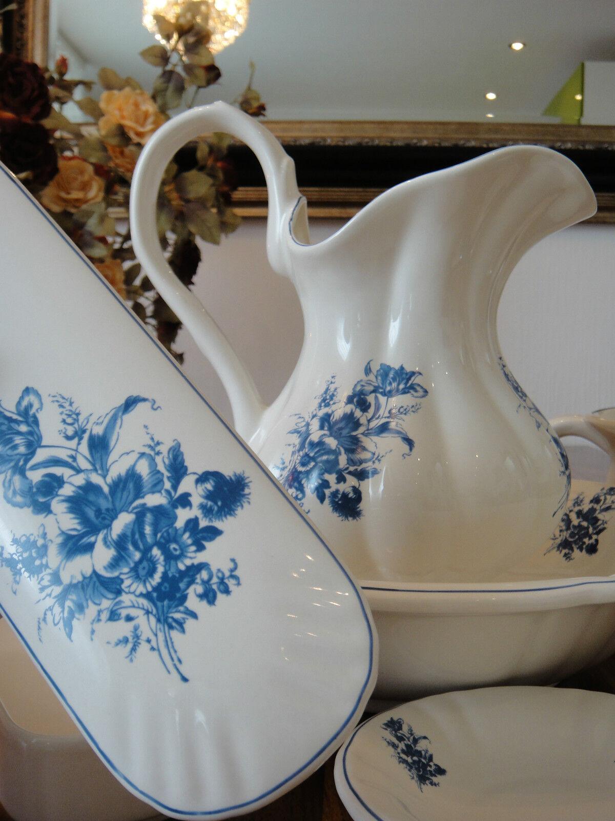 Porzellan Wasch-Set Antik Wasserkanne Schüssel Seifenschale Nachttopf Dose Krug