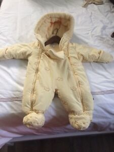 Like new yellow infant snowsuit 6-12 mo