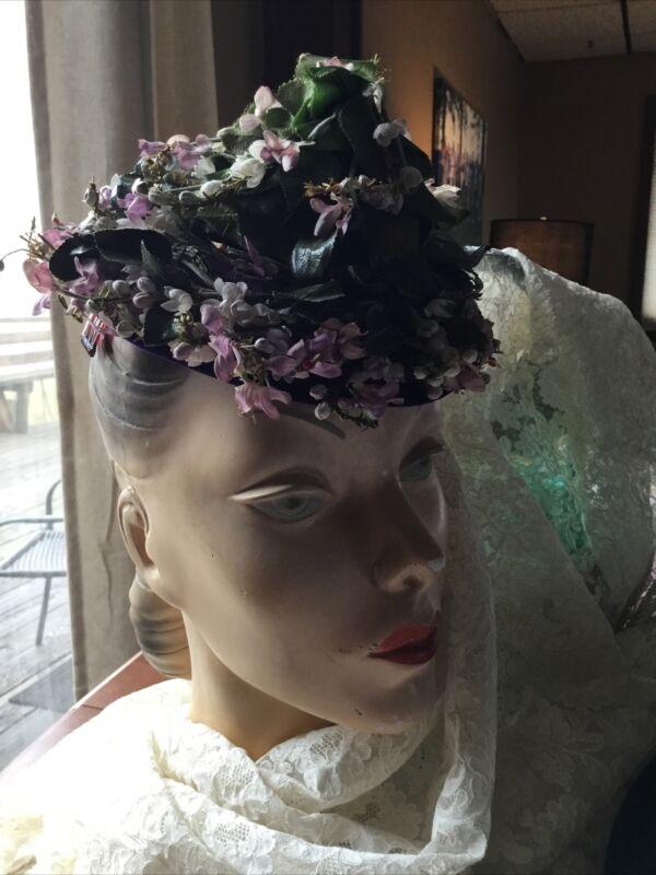 Vintage Floral Hat Pixie Style Circa 1940/50's