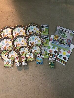 Fisher Price Baby Shower Animal Jungle Decorations Plates Invitations Cups Lot - Fisher Price Baby Shower Decorations