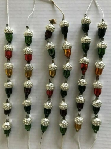 VTG & AUTHENTIC Mercury Glass ACORN GARLAND BEADS Capped w Bumpy Silver Crowns