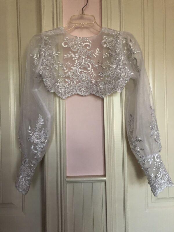 Wedding Bolero Lace White Jacket Size Small  To Medium