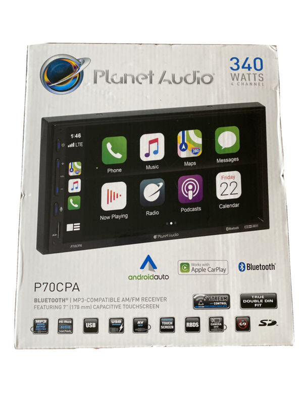 Planet Audio P70CPA Carplay Android Auto Stereo Double Din Touchscreen