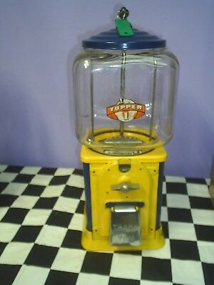 VINTAGE Victor Model topper Glass Globe 1 Cent gumball machine Blue asis