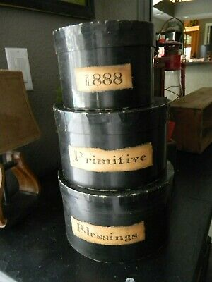 Black Painted Stacking Nesting Boxes Vintage Look Primitive Country New