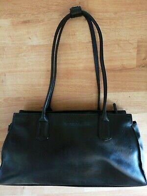 GC Hidesign (Radley) Black Medium Real Leather Bag Kelly Tote double handle clip