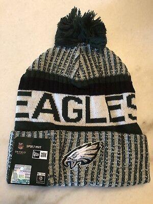 Philadelphia Eagles Beanie Cap Hat Nfl Football New Era Cuffed Knit On Field