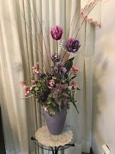 Vase with faux flowers