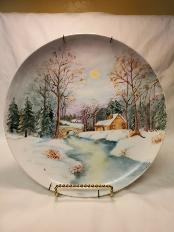 Vintage Hand Painted Winter Scene Decorative Plate Signed LT