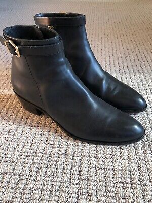 J Crew Leather Booties Boots Size 8 M B Made In Italy Charcoal Black EUC