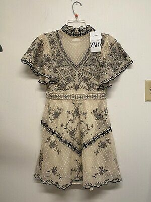 NWT ZARA White Black LIMITED EDITION EMBROIDERED DRESS Beading Size M #1314
