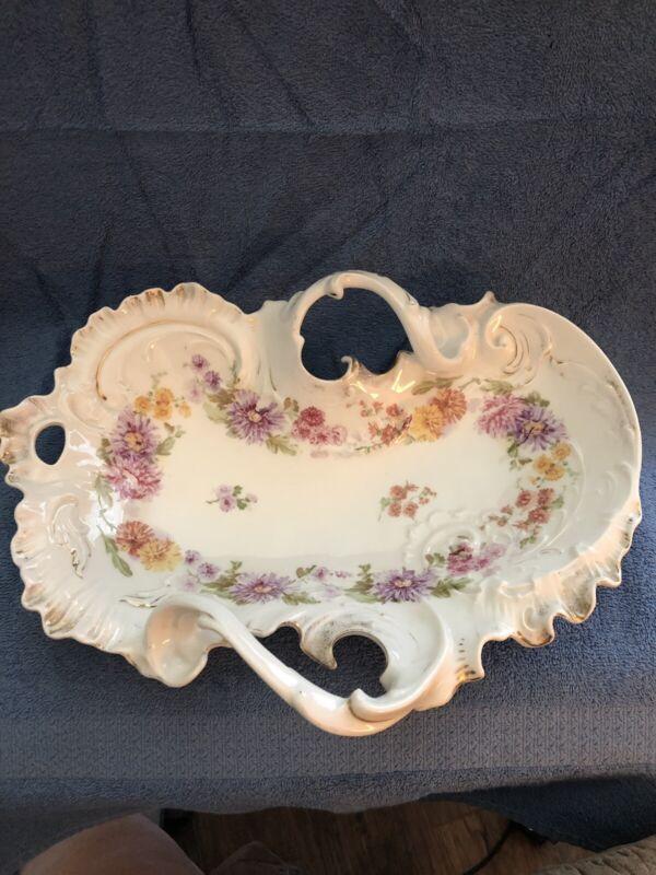 Vintage Carl Tielsch Germany Two Handled Porcelain Serving Bowl/Dish