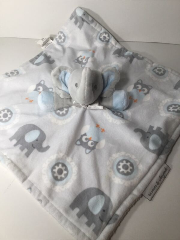 Blankets & Beyond Blue Elephant Baby Security Lovey White Gray Owl SHIPS FREE