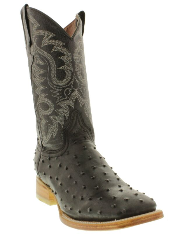 Mens, Black, Ostrich, Quill, Leather, Western, Rodeo, Dress, Cowboy, Square, Toe, Boots