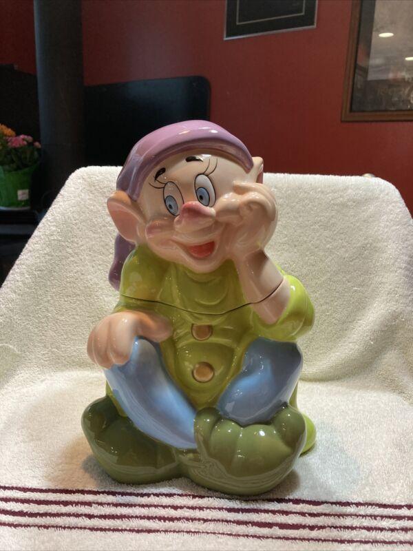 Dopey ceramic cookie jar snow white dwarfs Disney china 12 inch flawless