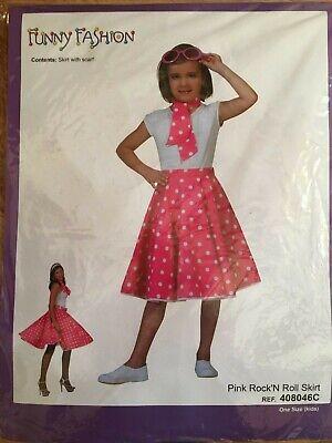 Kostüm Kinder Mädchen 50er Jahre Tellerrock Pink Rock'N Roll Skirt mit Schal NEU