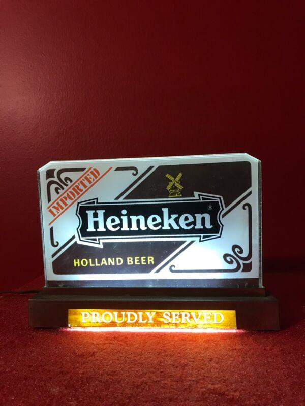 Vintage Heineken Beer Lighted Bar Tavern Sign Brewery Rare Man Cave Item Deco