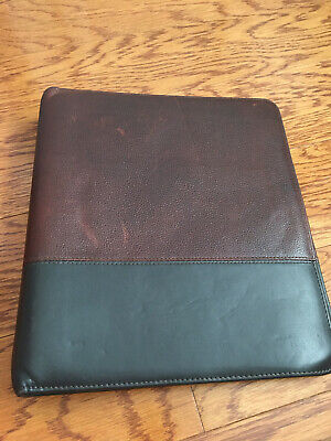 Franklin Covey 7 Ring Binder Planner Leather Brown Black 12.5x11x2