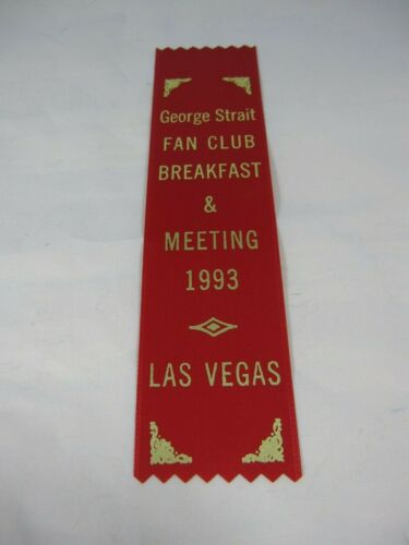 "Vtg 1993 George Strait Fan Club Ribbon Breakfast Meeting Country Music 2x8"" Red"