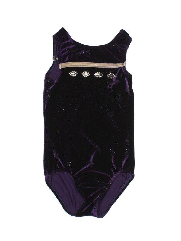 Girl GK Elite Size Child Small CS Purple Velour Gymnastics Leotard
