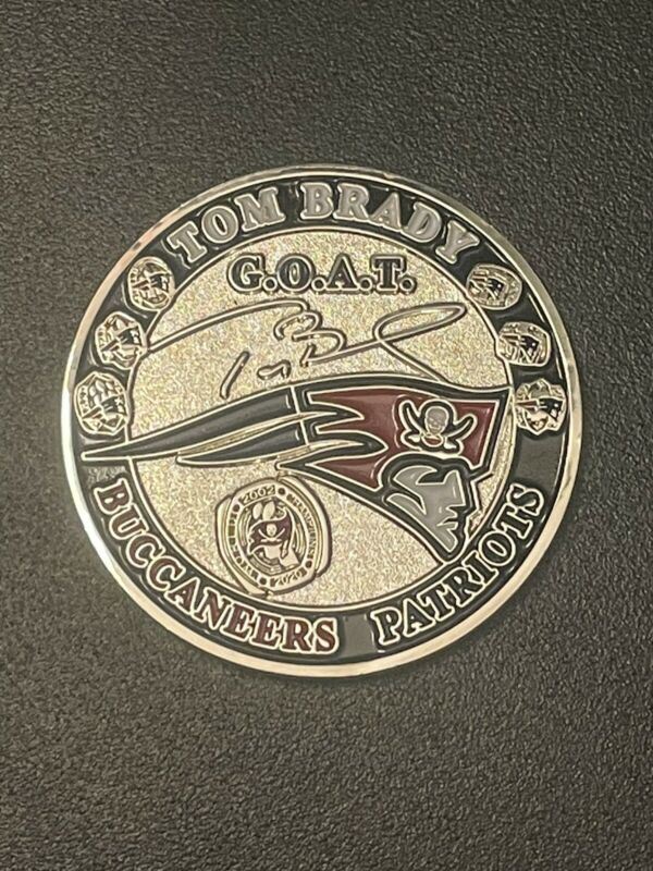 Tom Brady GOAT Challenge Coin Buccaneers/Patriots Super Bowl Champ/ MVP