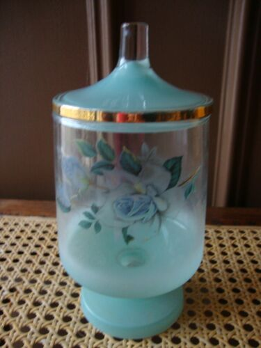 Antique Vtg Blue Frosted Glass Gold Trim Lidded Compote Chalice Candy Dish