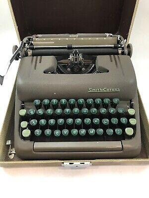 Vintage Smith Corona Silent Green Keys Floating Shift Typewriter & Case