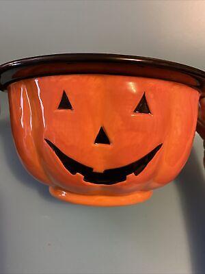 Kohls Halloween Pumpkin Candy Bowl, Large Ceramic Dish, Jack O'Lantern Bowl New