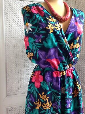 Vintage 1980s St Michael  Jumpsuit Playsuit Culottes Tropical Wide Leg 10-12