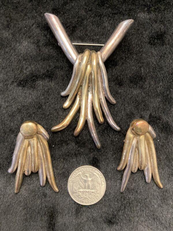 Vtg 925 Sterling Silver Electroform Bat Ami Israel Brutalist Pendant Earring Set