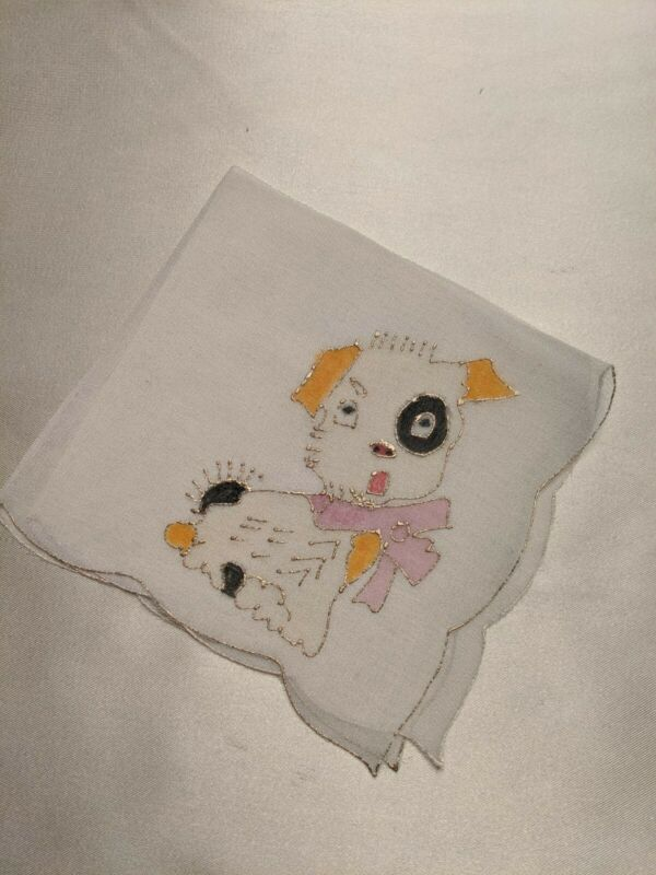 FLAPPER ERA 1920S SWEET PUPPY DOG HAND PAINTED SILK HANDKERCHIEF