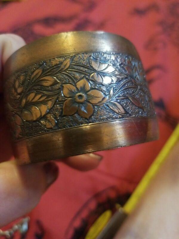 "Gorgeous 1.5"" Wide Floral Signed Genuine Copper Cuff Bracelet 6.25"""