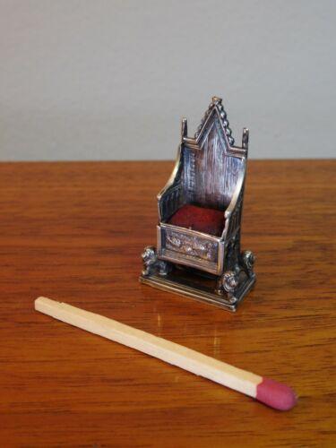 1901 Sterling Silver Miniature Coronation Chair Pincushion by Levi & Salaman
