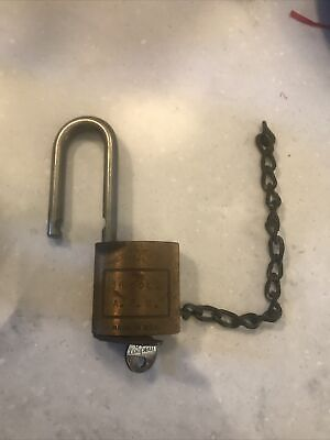 Vintage Medeco High Security Padlock Brass Body With Matching Key Military Air