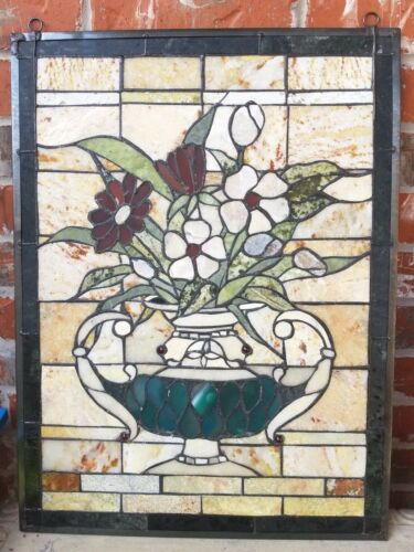 """FLORA 24"""" Real AGATE, JADE Mosaic Stained Glass Window Wall Panel River of Goods"""