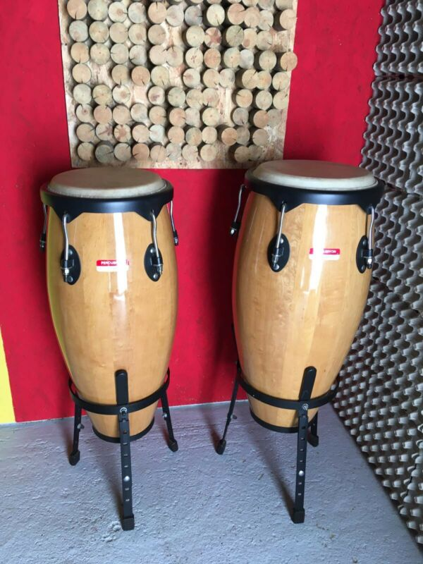 2 x Percussion Plus Floor Standing Congas with Stands Excellent Condition