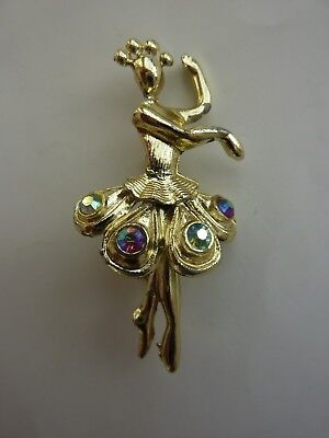Vintage Ballet Dancer Brooch Gold Plated with 4 Gemstone Decor ](Vintage Ballet Costumes)