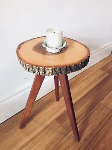 MINI VINTAGE COFFEE SIDE TABLE LIVE EDGE OAK w TEAK TRIPOD BASE