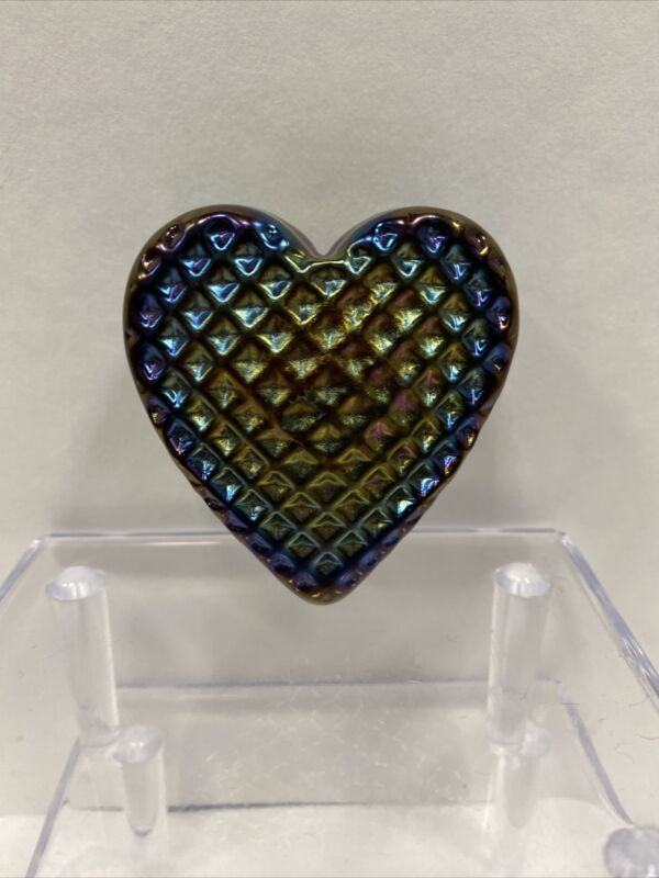 Signed Robert Held Purple Iridescent Glass Heart Paperweight Free Shipping