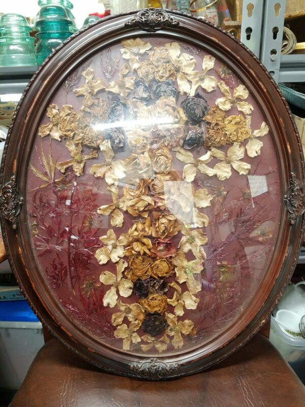 "Vintage  Frame, Convex Bubble Glass, 23"" x 17"" with dried flowers"