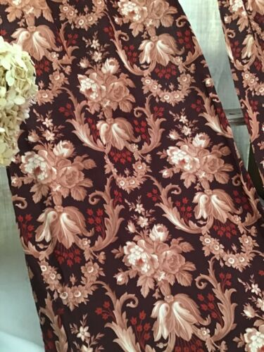 Antique French 19th Madder  Rococo cotton printed Curtains Brown Ground