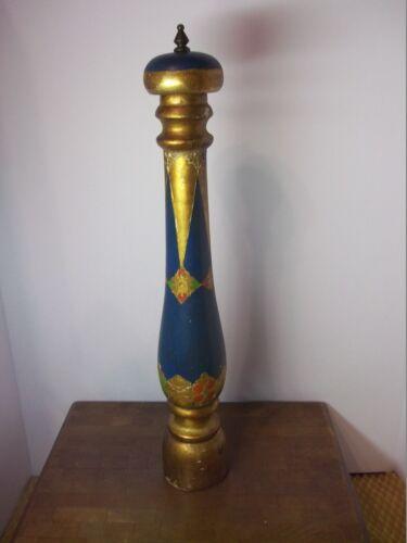 "Vintage Mid Century Italy Florentine Gold Blue Pepper Mill Grinder Rest. 21"" LGE"