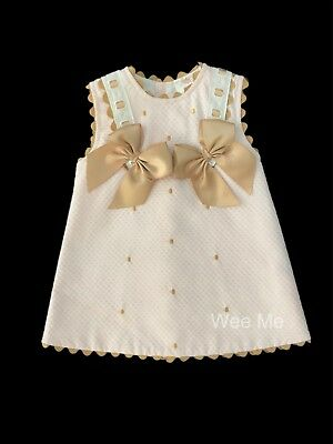 *SALE* Beautiful Wee Me Baby Girl Pink Spanish Dress with Tan Detail Bow
