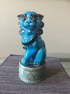 Asian Vintage Blue Glazed  Porcelain Foo Dog/Lion Statue Sculpture